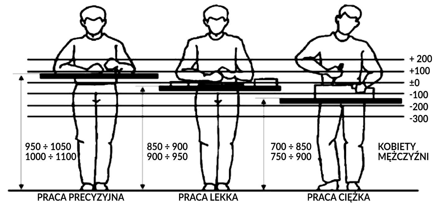 Zalecana wysokość pola pracy w pozycji stojącej
