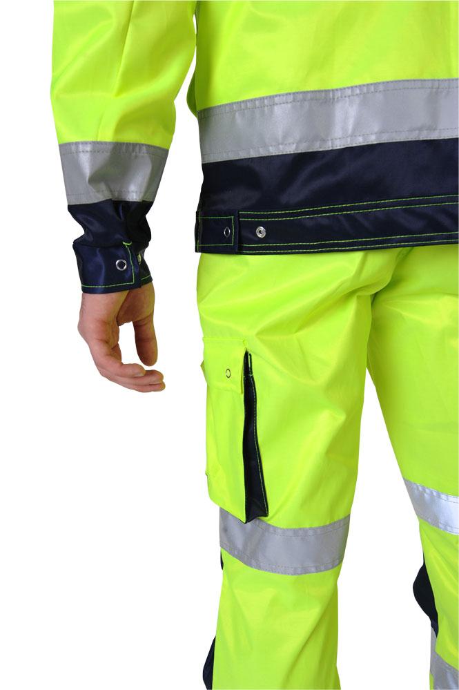 Przykład rozmieszczenia pasów na odzieży ochronnej o intensywnej widzialności marki ROBOD SA - kolekcja DROGOWIEC HI-VIS