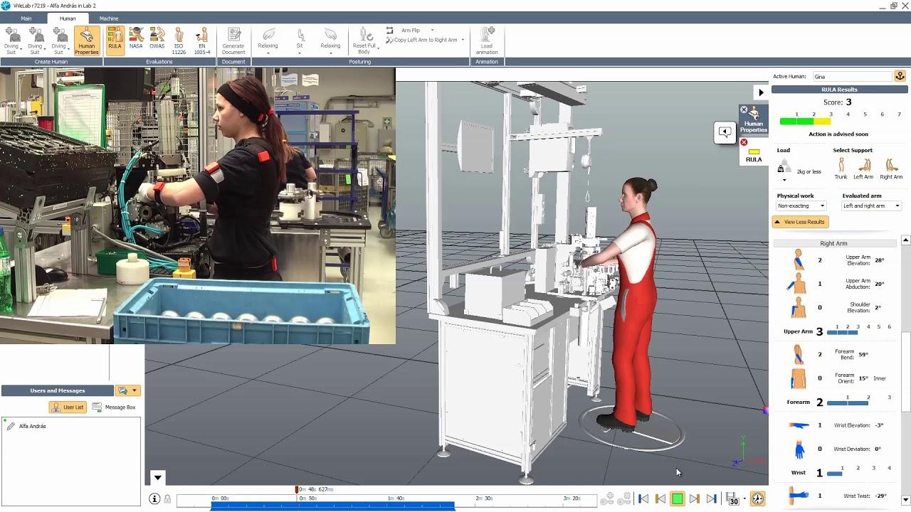 Ocena metodą RULA przy użyciu motion capture